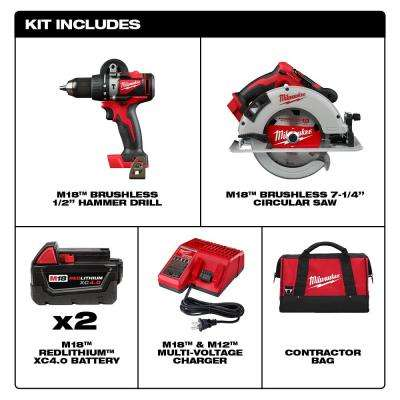 M18 18-Volt Lithium-Ion Brushless Cordless Hammer Drill and Circular Saw Combo Kit (2-Tool) with Two 4.0 Ah Batteries
