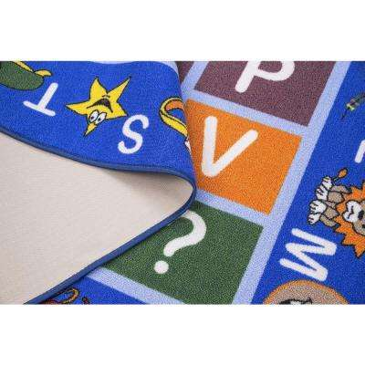 Jenny Collection Light Blue Alphabet Design 8 ft. 2 in. x 9 ft. 10 in. Non-Slip Kids Area Rug