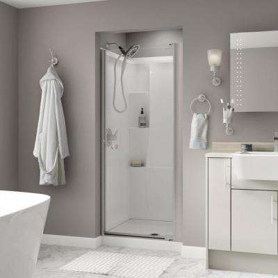 Silverton 33 in. x 64-3/4 in. Semi-Frameless Contemporary Pivot Shower Door in Nickel with Clear Glass