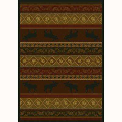Moose Burgundy 7 ft. 10 in. x 10 ft. 6 in. Contemporary Lodge Area Rug
