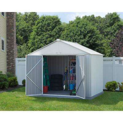 10 ft. W x 8 ft. H x 8 ft. D EZEE Galvanized Steel Shed with Extra-High Gable in Cream with Snap-IT Quick Assembly