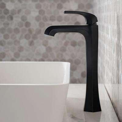 Esta Single Hole Single-Handle Vessel Bathroom Faucet with Pop-Up Drain in Matte Black