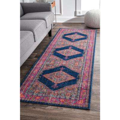 Adame Bordered Medallion Navy 3 ft. x 8 ft. Runner