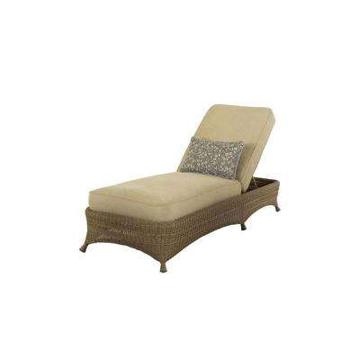 Lily Bay Wicker Patio Chaise with Oatmeal Cushions-DISCONTINUED