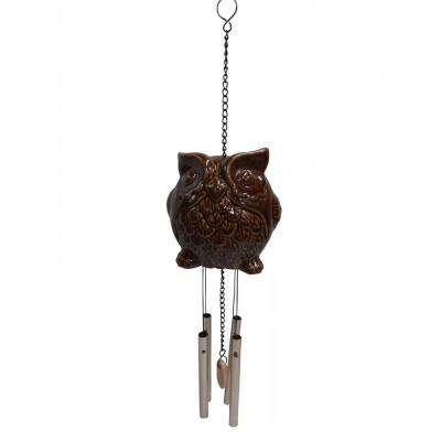 19 in. Ceramic Owl Wind Chime