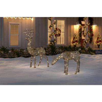 Meadow Frost 67 in. Life Size Animated Brown Christmas Deer Yard Decoration with LED Lights