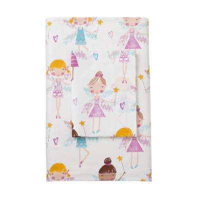 Good Fairies 200-Thread Count Cotton Percale Fitted Sheet
