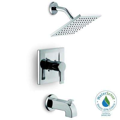 Modern Single-Handle 1-Spray Tub and Shower Faucet in Chrome