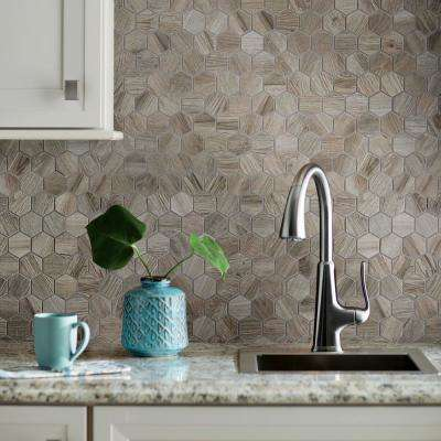 Shadow Wood Hexagon 12 in. x 12 in. x 8mm Glazed Porcelain Mosaic Floor and Wall Tile (0.83 sq. ft. / piece)