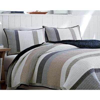 Tideway Blue Striped Cotton Quilt