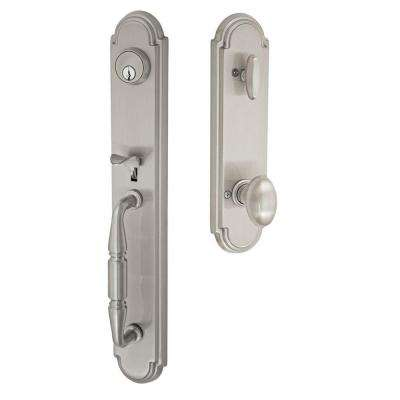 Brushed Nickel Ravinia Interconnect Interior Handle Set with Egg Knob