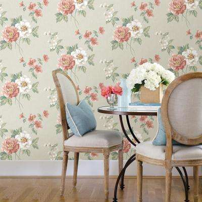 Keighley Coral Floral Wallpaper Sample