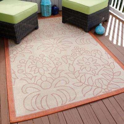 Botanical Orange 5 ft. x 8 ft. Indoor/Outdoor Area Rug