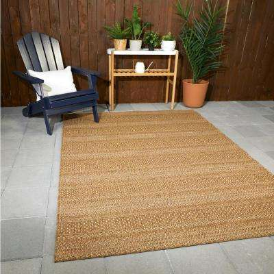 Natural Tan 9 ft. x 12 ft. Striped Indoor/Outdoor Area Rug