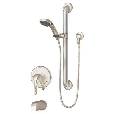 Origins 1-Handle Tub and Shower Faucet Trim Kit in Satin Nickel (Valve Not Included)