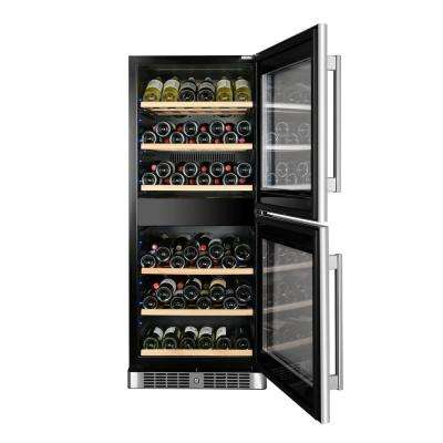 84-Bottle Dual Zone Wine Cooler Built-In with Compressor in Stainless Steel