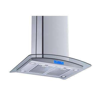 30 in. Convertible Island Mount Range Hood in Stainless Steel and Glass with Baffle Filters and Touch Control