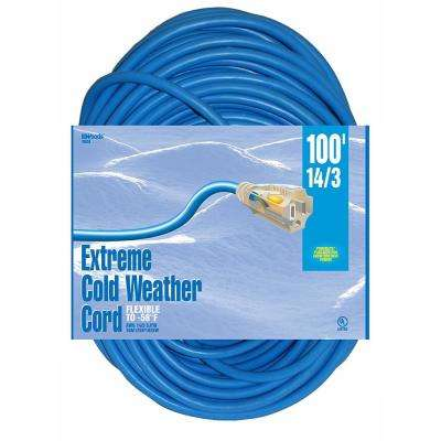 100 ft. 14/3 Outdoor Extension Cord with Lighted Ends Cold-Flex Weather-Proof Blue