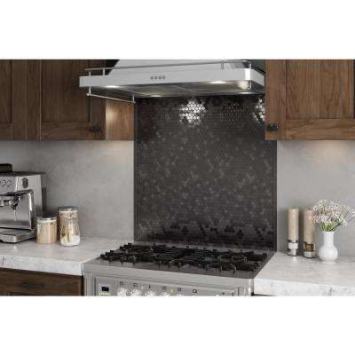 Hexagonia SB Black Stainless 29.61 in. x 30.47 in. x 5 mm Metal Self-Adhesive Wall Range Backsplash Mosaic (6.33 sq.ft.)