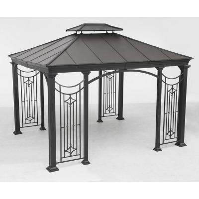 Branson 11.8 ft. x 11.8 ft. Black Steel Gazebo