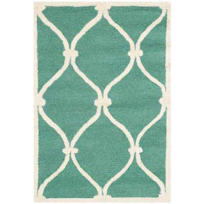 Cambridge Teal/Ivory 2 ft. x 3 ft. Area Rug