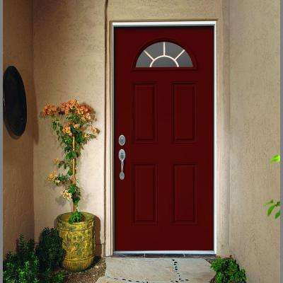 36 in. x 80 in. Fan Lite Mesa Red w/ White Interior Steel Prehung Right-Hand Inswing Front Door w/Brickmould