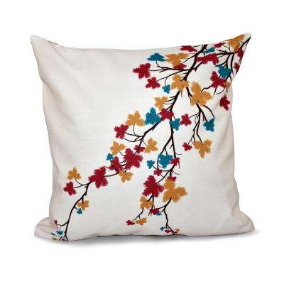 16 in. x 16 in. Maple Hues Flower Print Pillow in Teal