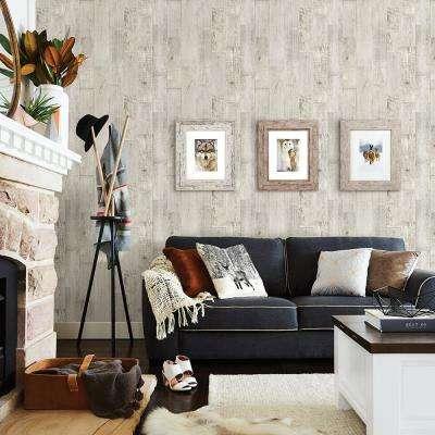 56.4 sq. ft. Chebacco Light Grey Wooden Planks Wallpaper