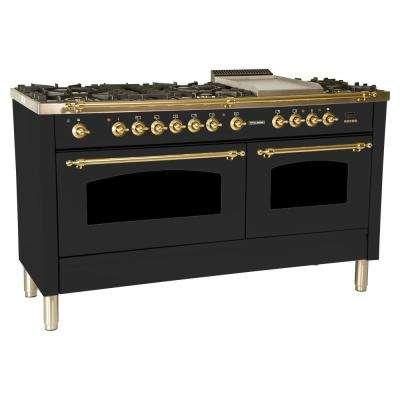 60 in. 6 cu. ft. Double Oven Dual Fuel Italian Range True Convection,8 Burners, LP Gas, Brass Trim/Matte Graphite