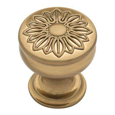 Floral 1-1/4 in. (32mm) Champagne Bronze Cabinet Knob