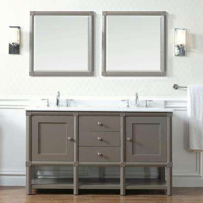 Sutton 60 in. W x 22 in D Vanity in Brook Trout with Marble Vanity Top in Yves White with White Basin