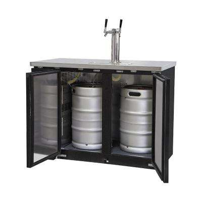 Commercial 2 Keg Beer Dispenser with Dual Faucet Tower