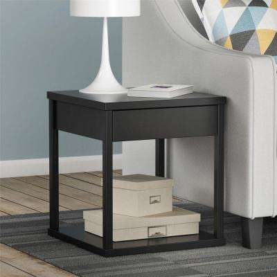 Parsons End Table with Drawer in Black