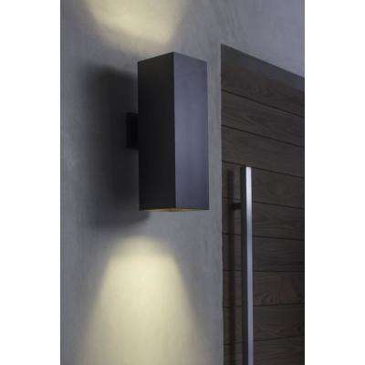 LED Square Cylinder 29-Watt 18 in. Outdoor Metallic Gray Integrated LED Wall Lantern Sconce