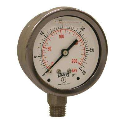 PFP Series 2.5 in. Stainless Steel Liquid Filled Case Pressure Gauge with 1/4 in. NPT LM and Range of 0-30 psi/kPa