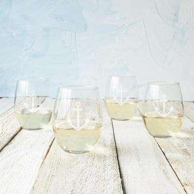 Anchor 21 oz. Glass Stemless Wine Glasses (Set of 4)