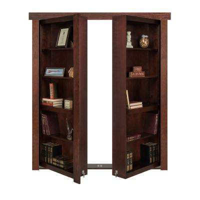 48 in. x 80 in. Flush Mount Assembled Cherry Dark Stained Out-Swing Solid Core Interior French Bookcase Door