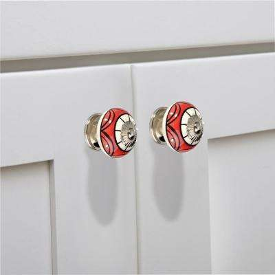 Art 1-3/5 in. (40 mm) Red and Cream Cabinet Knob