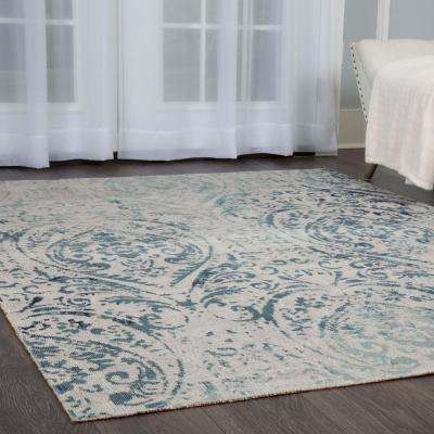 Patio Sofia Ivory/Blue 7 ft. 9 in. x 10 ft. 2 in. Indoor/Outdoor Area Rug