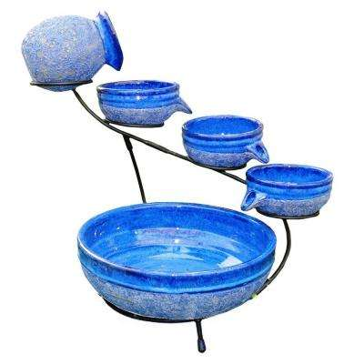 Ceramic Blueberry Solar Cascade Fountain with Rustic Blue Finish