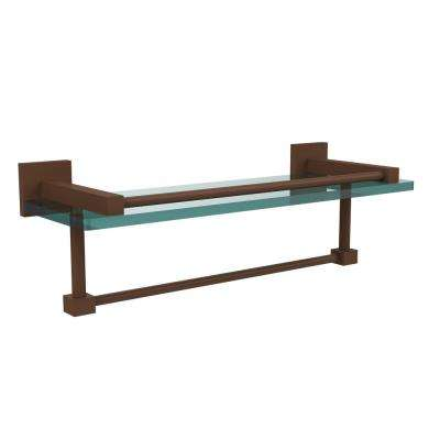 Montero Collection 16 in. Gallery Glass Shelf with Towel Bar in Antique Bronze
