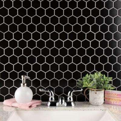 Metro Hex 2 in. Matte 11-1/8 in. x12-5/8 in. Black Porcelain Mosaic (9.64 sq. ft. /case)