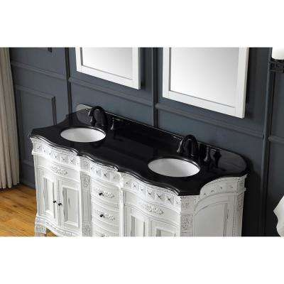 Daventry 60 in.W Bath Vanity in Antique White and Gold Brush with Granite Vanity Top in Black with White Basins