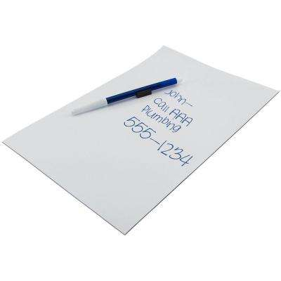 8-1/2 in. x 11 in. Flexible Magnetic Write-On and Wipe-Off Vinyl Sheet with Wet Erase Pen
