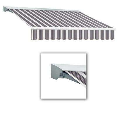 8 ft. Destin-LX Manual Retractable Acrylic Awning with Hood (84 in. Projection) in Navy/Gray/White