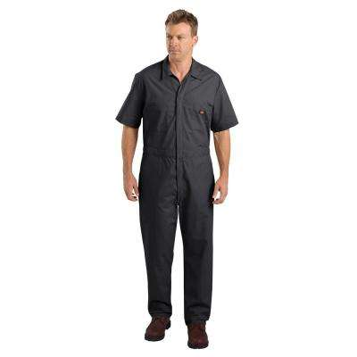 Men Short Sleeve Black Coverall
