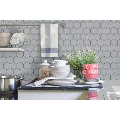 Retro Gray Hexo 12.6 in. x 11.02 in. x 6mm Porcelain Mesh-Mounted Mosaic Tile (14.4 sq. ft.)