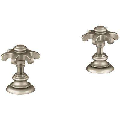 Artifacts Bathroom Sink Prong Handles in Vibrant Brushed Bronze
