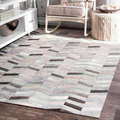 Mitch Striped Silver 9 ft. x 12 ft. Area Rug