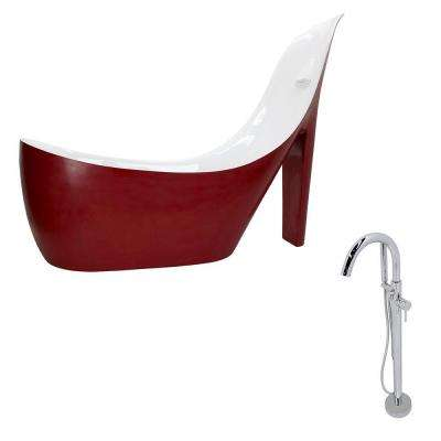 Gala 6.7 ft. Acrylic Slipper Freestanding Flatbottom Non-Whirlpool Bathtub in Red and Kros Faucet in Chrome